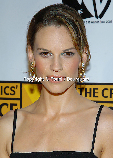 Hilary Swank arriving at the10th Annual Critic's Choice Awards at the Wiltern Theatre in Los Angeles. .January 10, 2005.