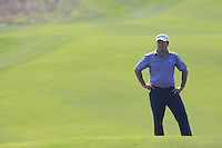 Richard Sterne (RSA) waits to play his 2nd shot on the 9th hole during Sunday's Final Round of the 2014 BMW Masters held at Lake Malaren, Shanghai, China. 2nd November 2014.<br /> Picture: Eoin Clarke www.golffile.ie
