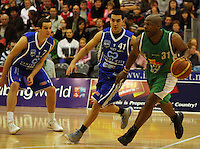 Kantrail Horton looks for a way by Luke Martin during the NBL Round 14 match between the Manawatu Jets  and Wellington Saints. Arena Manawatu, Palmerston North, New Zealand on Saturday 31 May 2008. Photo: Dave Lintott / lintottphoto.co.nz