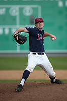 Kyle Dozier (32) of the Loyola Marymount Lions pitches against the Washington State Cougars at Page Stadium on February 26, 2017 in Los Angeles, California. Loyola defeated Washington State, 7-4. (Larry Goren/Four Seam Images)