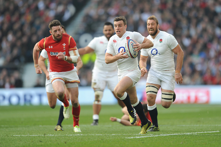 George Ford of England finds space during the RBS 6 Nations match between England and Wales at Twickenham Stadium on Saturday 12th March 2016 (Photo: Rob Munro/Stewart Communications)