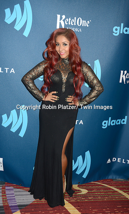 """Nicole """"Snooki"""" Polizzi attends the 24th Annual GLAAD Media Awards on March 16, 2013 at The Marriott Marquis in New York City."""