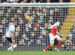 Arsenal's Aaron Ramsey scoring his sides opening goal<br /> - English Premier League - Tottenham Hotspur vs Arsenal  - White Hart Lane - London - England - 5th March 2016 - Pic David Klein/Sportimage