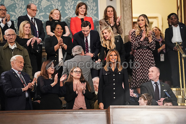 FEBRUARY 5, 2019 - WASHINGTON, DC: First Lady Melania Trump in the First Lady's box ahead of the State of the Union address, with Vice President Mike Pence and Speaker of the House Nancy Pelosi, at the Capitol in Washington, DC on February 5, 2019. Photo Credit: Doug Mills/CNP/AdMedia