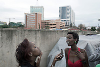 KIGALI, RWANDA NOVEMBER 7: Models do their makeup backstage before the gala night at Kigali Fashion week on November 7, 2014 held at Kigali City Towers in Kigali, Rwanda. Designers and from Rwanda, Burundi and Uganda showed their latest collections at the yearly event. The event was held at a parking lot at a popular shopping mall in Kigali. (Photo by: Per-Anders Pettersson)