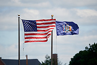 Flags fly during a Binghamton Rumble Ponies game against the Altoona Curve on June 14, 2018 at NYSEG Stadium in Binghamton, New York.  Altoona defeated Binghamton 9-2.  (Mike Janes/Four Seam Images)