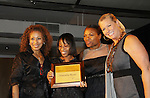 """Tamara Tunie - Naeemha Reyes (receives Mom of the Year award)  - Deborah Koenigsberger - Emme at The Fourteenth Annual Hearts of Gold Gala """"Hooray for Hollywood!"""" - with its mission to foster sustainable change in lifestyle and levels of self-sufficiency for homeless mothers and their children on October 28, 2010 at the Metropolitan Pavillion, New York City, New York. (Photo by Sue Coflin/Max Photos)"""