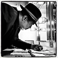 """WALNUT CREEK, CA - JANUARY 16:  iPhone Instagram of for San Francisco 49er great Dwight Hicks signing copies of """"Letters to 87"""" before a fund raising event at the Lesher Center for the Arts on January 16, 2020 in Walnut Creek, California. (Photo by Brad Mangin)"""