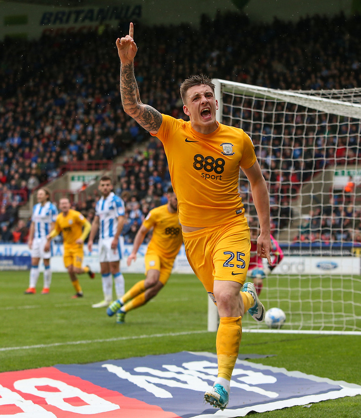 Preston North End's Jordan Hugill celebrates scoring his sides equalising goal to make the score 2-2<br /> <br /> Photographer Alex Dodd/CameraSport<br /> <br /> The EFL Sky Bet Championship - Huddersfield Town v Preston North End - Friday 14th April 2016 - The John Smith's Stadium - Huddersfield<br /> <br /> World Copyright &copy; 2017 CameraSport. All rights reserved. 43 Linden Ave. Countesthorpe. Leicester. England. LE8 5PG - Tel: +44 (0) 116 277 4147 - admin@camerasport.com - www.camerasport.com