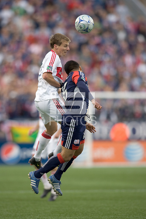 Chicago Fire forward Chris Rolfe (17) and New England Revolution midfielder Mauricio Castro (16) battle for head ball. The New England Revolution out scored the Chicago Fire, 2-1, in Game 1 of the Eastern Conference Semifinal Series at Gillette Stadium on November 1, 2009.