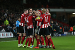 Oli McBurnie and team mates of Sheffield Utd celebrate scoring a goalduring the Premier League match at Bramall Lane, Sheffield. Picture date: 10th January 2020. Picture credit should read: Chloe Hudson/Sportimage