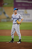 Hudson Valley Renegades relief pitcher Tanner Dodson (10) looks in for the sign during a game against the Auburn Doubledays on September 5, 2018 at Falcon Park in Auburn, New York.  Hudson Valley defeated Auburn 11-5.  (Mike Janes/Four Seam Images)