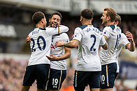 Mousa Dembele of Tottenham Hotspur (second left) celebrates scoring his side's first goal during the Premier League match between Tottenham Hotspur and Bournemouth at White Hart Lane, London, England on 15 April 2017. Photo by Mark  Hawkins / PRiME Media Images.