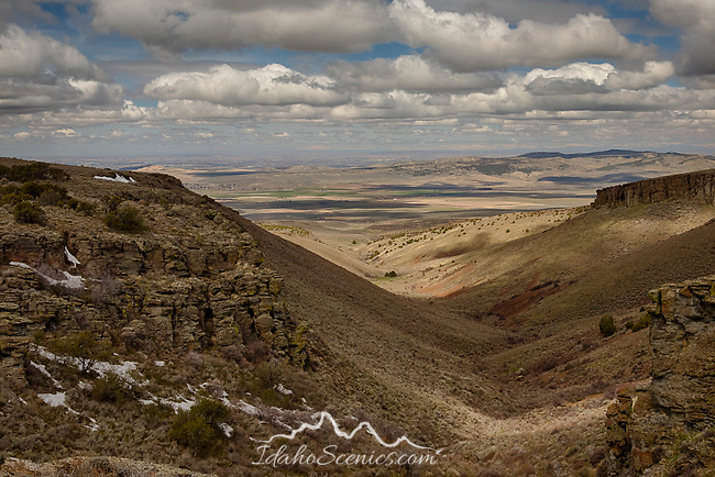 Idaho, South central, Albion. A spring view from the Cottterel Mountains looking north over the Snake River plain.
