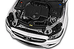 Car stock 2017 Mercedes Benz E Class AMG Line 2 Door Coupe engine high angle detail view