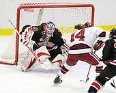 Leah Sulyma (NU - 1), Jillian Dempsey (Harvard - 14) - The Harvard University Crimson defeated the Northeastern University Huskies 1-0 to win the 2010 Beanpot on Tuesday, February 9, 2010, at the Bright Hockey Center in Cambridge, Massachusetts.