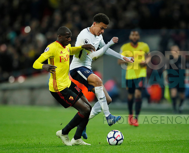 Abdoulaye Doucoure of Watford tackles Dele Alli of Tottenham during the premier league match at Wembley Stadium, London. Picture date 30th April 2018. Picture credit should read: David Klein/Sportimage