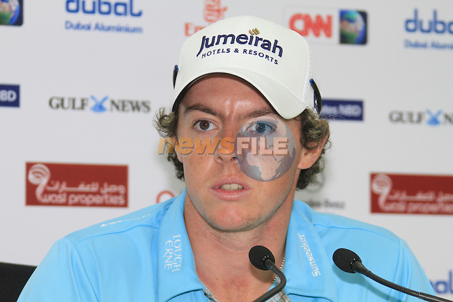Rory McIlroy (NIR) speaking to the media after finishing his second round at -11 on day 2 of the Omega Dubai Desert Classic 2011 on the Majlis Course, Emirates Golf Club, Dubai, UAE. 11/02/2011.Picture Fran Caffrey/www.golffile.ie.