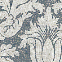 Kingston Lacy, a hand cut natural stone mosaic shown in Calacatta Tia and Bardiglio is by Rogers & Goffigon.