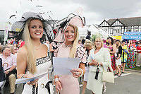 5/8/2010.Blossom Hill Ladies Day. Kathryn Hynes and Anne Murry from Carlow are   pictured at the Blossom Hill Ladies Day at the Fáilte Ireland Dublin Horse Show at RDS. Picture James Horan/Collins Photos