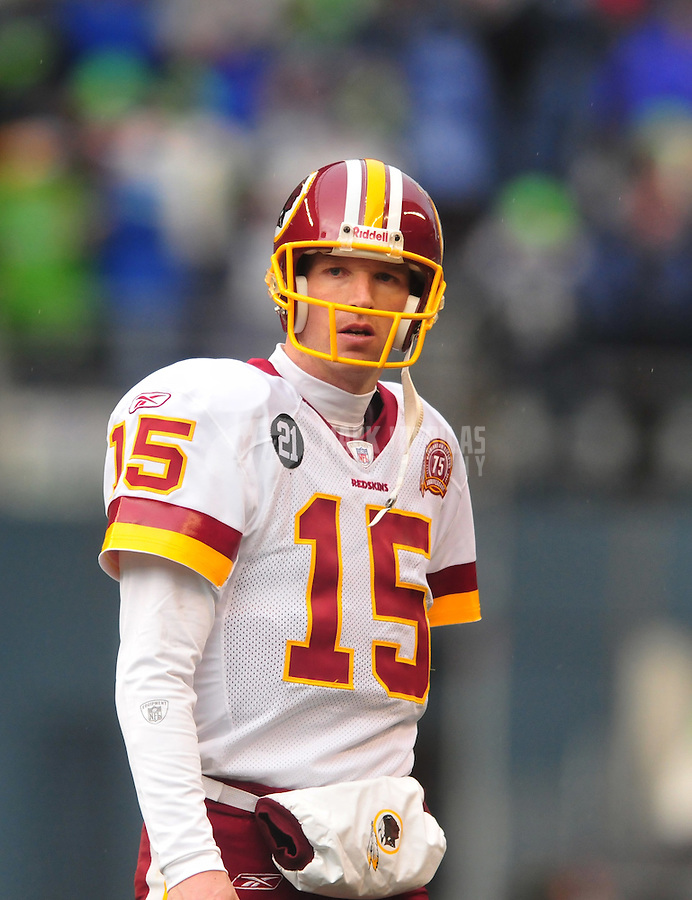 Jan. 5, 2008; Seattle, WA, USA; Washington Redskins quarterback Todd Collins (15) against the Seattle Seahawks during the NFC wild card game at Qwest Field. Seattle defeated Washington 35-14. Mandatory Credit: Mark J. Rebilas-US PRESSWIRE
