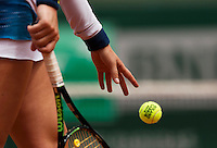 France, Paris , May 26, 2015, Tennis, Roland Garros, Racket hand and ball<br /> Photo: Tennisimages/Henk Koster