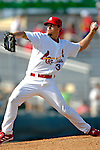 28 February 2007: St. Louis Cardinals pitcher Randy Flores on the mound during a pre-season, Grapefruit League game against the Florida Marlins on Opening Day for Spring Training at Roger Dean Stadium in Jupiter, Florida. The Cardinals and Marlins share Roger Dean Stadium and the training facilities which opened in 1998 as a co-development between the Cardinals and the Montreal Expos.<br /> <br /> Mandatory Photo Credit: Ed Wolfstein Photo