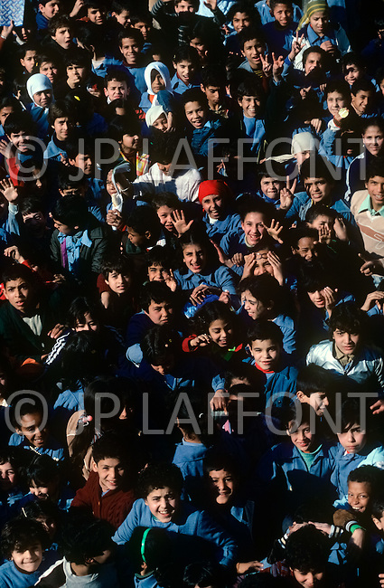"""March 1982, Lebanon: in Saïda, inside """"Acre"""" elementary school named after the city of Palestine."""
