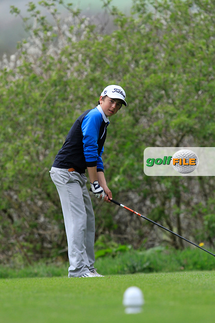 Luke Cummins (West Waterford) on the 15th tee during Day 1 of The Munster Youths' Amateur Open Championship in Dungarvan Golf Club on Wednesday 23nd April 2014.<br /> Picture:  Thos Caffrey / www.golffile.ie