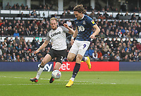 Blackburn Rovers Sam Gallagher  in action with Derby County's Matthew Clarke<br /> <br /> Photographer Mick Walker/CameraSport<br /> <br /> The EFL Sky Bet Championship - Derby County v Blackburn Rovers - Sunday 8th March 2020  - Pride Park - Derby<br /> <br /> World Copyright © 2020 CameraSport. All rights reserved. 43 Linden Ave. Countesthorpe. Leicester. England. LE8 5PG - Tel: +44 (0) 116 277 4147 - admin@camerasport.com - www.camerasport.com