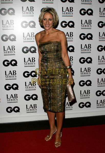 EMILY MAITLIS.Attending the 10th Anniversary GQ Men Of The Year Awards, Royal Opera House, Covent Garden, London, England. .full length strapless grey gray brown golds dress shoes pattern clutch purse .CAP/AH.©Adam Houghton/Capital Pictures