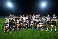 The Hawkes Bay team pose for a group photo after the Mitre 10 Cup Championship rugby final between Bay Of Plenty Steamers and Hawkes Bay Magpies at Rotorua International Stadium, New Zealand on Friday, 25 October 2019. Photo: Dave Lintott / lintottphoto.co.nz