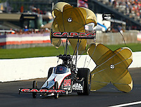 Sep 4, 2016; Clermont, IN, USA; NHRA top fuel driver Steve Torrence during qualifying for the US Nationals at Lucas Oil Raceway. Mandatory Credit: Mark J. Rebilas-USA TODAY Sports