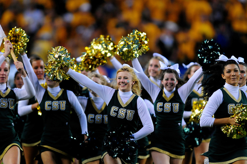 31 Aug 2008: Colorado State cheerleaders run onto the field at halftime of a game against Colorado. The Colorado Buffaloes defeated the Colorado State Rams 38-17 at Invesco Field at Mile High in Denver, Colorado. FOR EDITORIAL USE ONLY