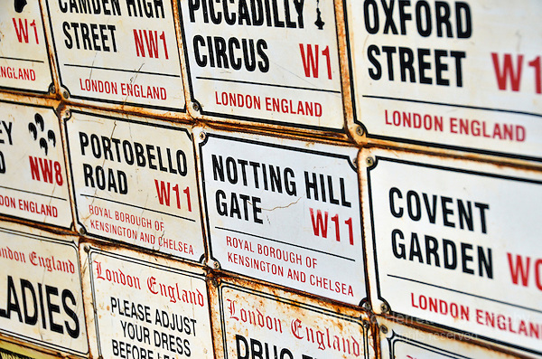Numerous street signs of well known London locations.