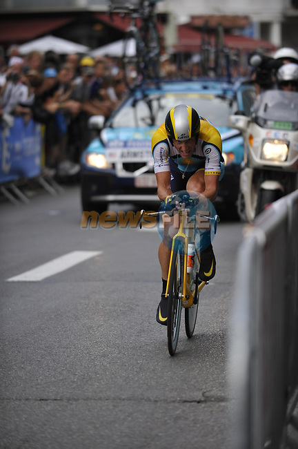 Lance Armstrong (USA) Astana approaches the finish line of Stage 18 of the Tour de France 2009 an individual time trial running 40.5km around Lake Annecy, France. 23rd July 2009 (Photo by Eoin Clarke/NEWSFILE)