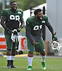 Sheldon Richardson #91 of New York Jets, right, and #98 Jarvis Jenkins laugh during team training camp at Atlantic Health Jets Training Center in Florham Park, NJ on Thursday, Aug. 4, 2016.