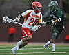 Thomas Martello #25 of Chaminade, left, gets pressured by Darren Mata #9 of Yorktown during a non-league varsity boys lacrosse game at Chaminade High School on Saturday, Apr. 23, 2016. Chaminade won by a score of 8-4.