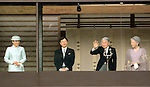 December 23, 2013, Tokyo, Japan - Flanked by his family, Japan's Emperor Akihito waves to flag-waving well-wishers celebrating his 80th birthday during a genreral audiencre at the Imperial Palace in Tokyo on Monday, December 23, 2013. The monarch told the crowd of some 25,000 people that he prayed the coming year will be a good year for all. Flanking Akihito are, from left: Princess Masako; Crown Prince Naruhito and Empress Michiko. (Photo by Natsuki Sakai/AFLO)