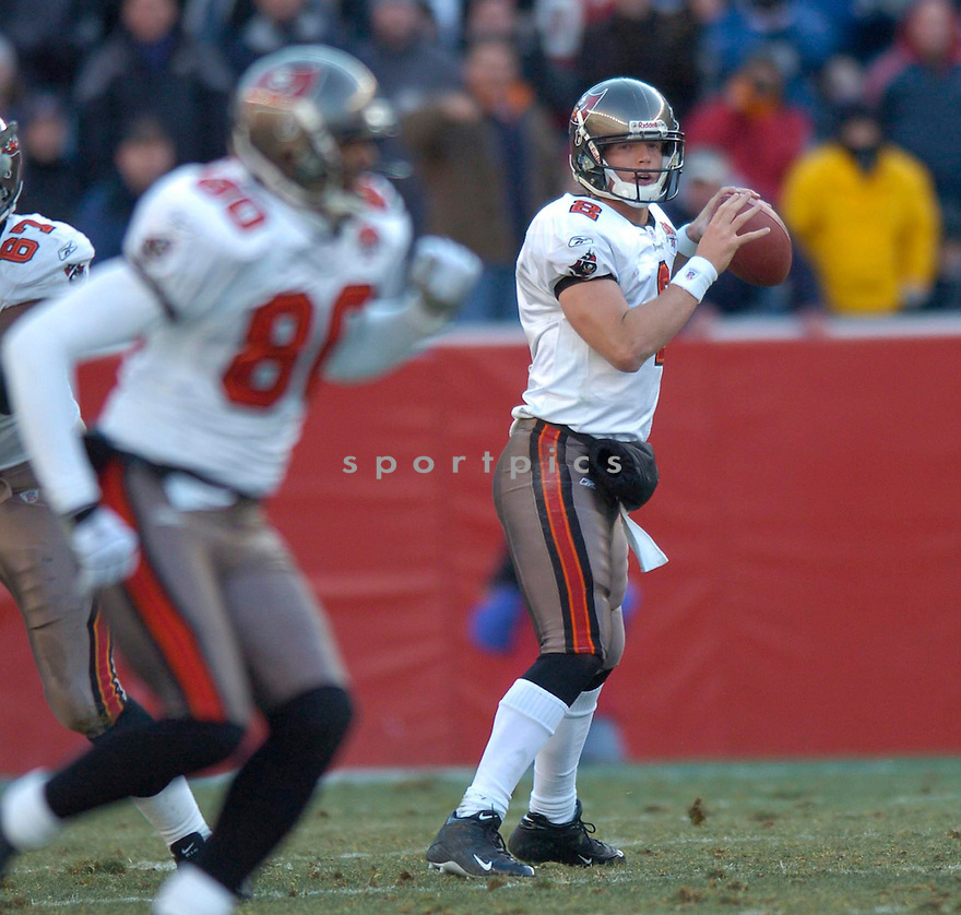 Chris Simms of the the  Tampa Bay Buccaneers , in action during thier game against the New England Patriots  on December 17, 2005...Patriots win 28-0..David Durochik / SportPics