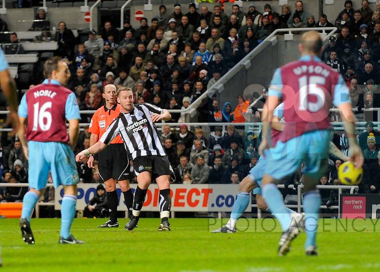Newcastle's Kevin Nolan scores his side's third goal.