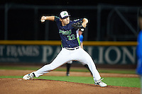Vermont Lake Monsters pitcher John Gorman (22) delivers a pitch during a game against the Hudson Valley Renegades on September 3, 2015 at Centennial Field in Burlington, Vermont.  Vermont defeated Hudson Valley 4-1.  (Mike Janes/Four Seam Images)