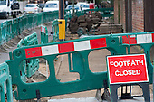 Footpath closed. London Borough of Barnet pavement works, Cricklewood.