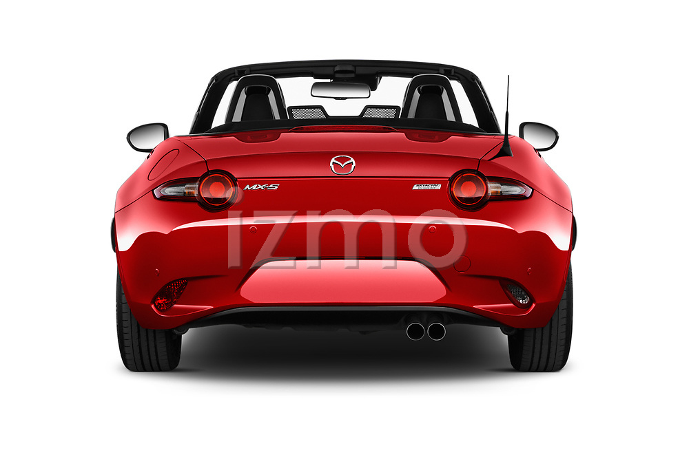 Straight rear view of 2016 Mazda MX-5 Skycruise 2 Door Convertible Rear View  stock images