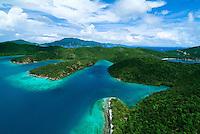 Aerial view of Hurricane Hole, St John.U.S. Virgin Islands