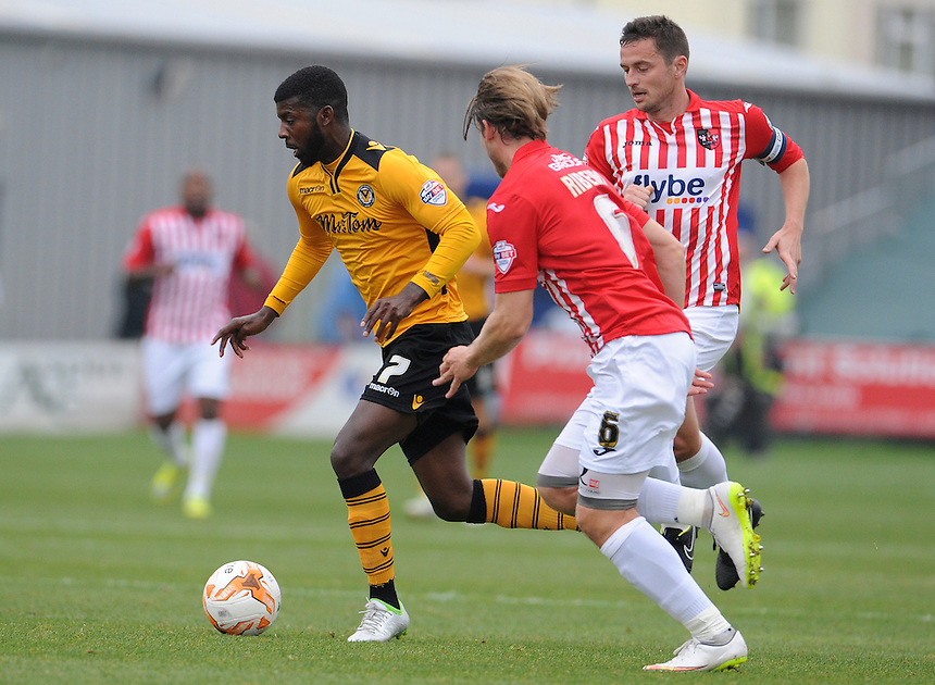Newport County's Medy Elito in action during todays match  <br /> <br /> Photographer  Ian Cook/CameraSport<br /> <br /> Football - The Football League Sky Bet League Two - Newport County AFC v Exeter City - Saturday 3rd October 2015 - Rodney Parade - Newport<br /> <br /> &copy; CameraSport - 43 Linden Ave. Countesthorpe. Leicester. England. LE8 5PG - Tel: +44 (0) 116 277 4147 - admin@camerasport.com - www.camerasport.com