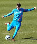 Nederland, Katwijk, 11 oktober  2012.Seizoen 2012-2013.Nederlandselftal.Training van Oranje.Klaas Jan Huntelaar van Oranje in actie met de bal