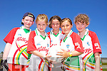 Darragh O'Corcora, Laoise O'Herlihy, Erica O'Callaghan, Ella Tracey and Jane Rodgers having fun at the Castlegregory Cúl Camps last week.