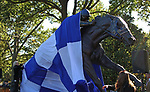 October 12, 2019 : The Secretariat monument created by Jocelyn Russell is unveiled at Keeneland Racecourse.  It's final resting place will be at the intersection, round about  at Old Frankfort Pike and Alexandria Drive in Lexington, KY.  Placement will begin on Monday October 14th.  Lexington, KY on October 12, 2019.  Candice Chavez/ESW/CSM