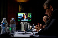 United States Senator Amy Klobuchar (Democrat of Minnesota), speaks via teleconference during a US Senate Judiciary Committee hearing on Capitol Hill in Washington, Tuesday, June 9, 2020, to examine COVID-19 fraud, focusing on law enforcement's response to those exploiting the pandemic. <br /> Credit: Andrew Harnik / Pool via CNP/AdMedia